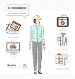 Professional engineer. Professional female mechanical engineer infographic skills resume with tools, equipment and icons set stock illustration
