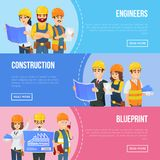 Professional engineering and construction concept. With worker team in uniform and safety helmets. Industrial building company vector illustration. Engineer Stock Images