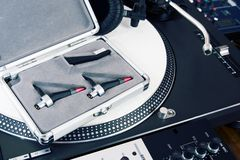 Professional equipment of a DJ Royalty Free Stock Image