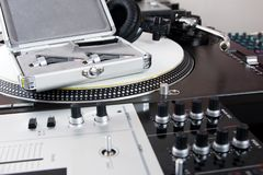 Professional equipment of a DJ Stock Photos