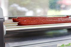 Professional equipment for hot dog preparation Royalty Free Stock Photos