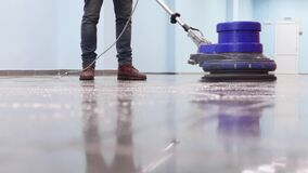 Professional equipment for mopping in industrial and public places. Cleaning service