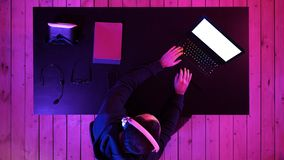 Professional eSport Gamer Playing. White Display. royalty free stock images