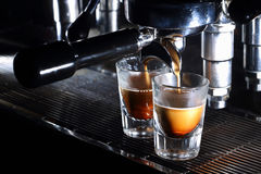 Professional espresso machine brewing a coffee Stock Photo