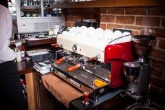 Professional espresso machine in pub, bar, restaurant. Stock Photo