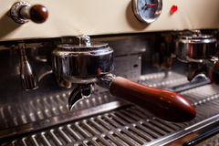 Professional espresso machine in pub, bar, restaurant. Royalty Free Stock Images