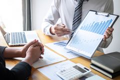 Professional executive Business colleague team working and analyzing with new project of accounting finance, Idea presentation and. Meeting strategy plan of stock images