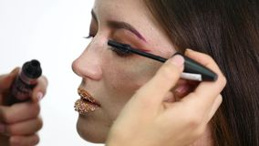 Professional eye makeup mascara application model looking straight at camera - work in beauty fashion industry cosmetics. Backstage professional make-up - macro stock video