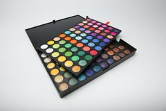 Professional eyeshadow set consisting of several palettes stock photos