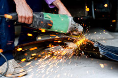 Professional factory grinder cutting metal Royalty Free Stock Photo