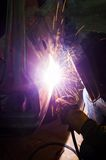 Professional factory worker welding steel and metal parts Royalty Free Stock Photos