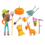 Professional Farmer And His Tools, Man And His Profession Attributes Set Of Isolated Cartoon Objects Stock Images