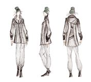 Professional fashion sketches stock image
