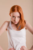 Professional fashionable young red-haired model Royalty Free Stock Images