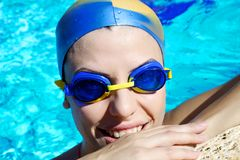 Professional femal swimmer smiling happy closeup Stock Photography