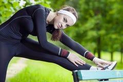 Professional Female Athlete Having Her Regular Outdoor Exercises Stock Photography