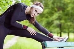 Professional Female Athlete Having Her Regular Outdoor Exercises Stock Images