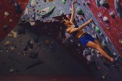 Female climber. Extreme indoor climbing. Royalty Free Stock Photography