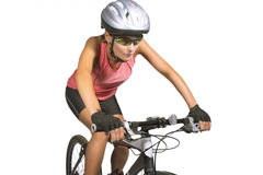 Professional female cycling athlete riding mountain bike and equ Stock Photos