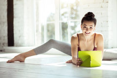 Professional female dancer taking a break Stock Image