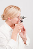 Professional female doctor with medical tool Royalty Free Stock Photo