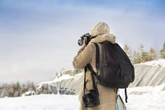 Professional female film photographer in Karelia, Russia Royalty Free Stock Photo