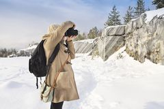 Professional female film photographer in Karelia, Russia Royalty Free Stock Photography