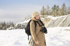 Professional female film photographer in Karelia, Russia Royalty Free Stock Photo