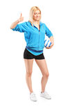 Professional female handball player Royalty Free Stock Image