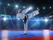 Professional female karate fighter Royalty Free Stock Images