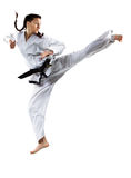 Professional female karate fighter isolated on