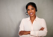 Professional female operator looking at the camera Royalty Free Stock Photo