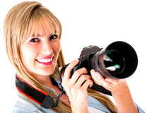 Professional female photographer Royalty Free Stock Photo