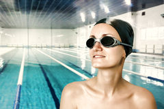 Professional female swimmer. Portrait of female professional competitive swimmer Royalty Free Stock Photography