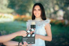 Professional Female Talent Auditioning for Movie Film Video Casting. Woman reading her part on a microphone for a role Royalty Free Stock Photography