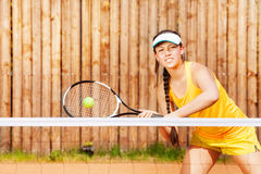 Professional female tennis player waiting for ball Royalty Free Stock Images