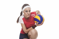 Professional Female Volleyball Player Sitting With Ball. Isolate Stock Images