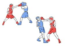 Boxing match. Set of two boxers in ring. royalty free illustration