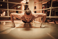 Professional fighter warm-up on training ring Royalty Free Stock Images
