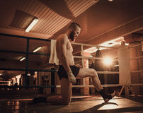 Professional fighter warm-up on training ring Royalty Free Stock Photo