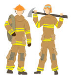 professional firefighters. Professional firefighters on white background. Male and Female firefighters in uniform, hats and with axe Stock Photo