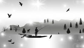 Professional Fisherman, Fishing, Nature,illustration. Professional Fisherman, Fishing, Nature,best illustration Royalty Free Stock Images