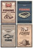 Professional fishing store and camp retro posters. Fishing store and camp for professional retro posters. Leisure and hobby connected with nature promotion. Full stock illustration