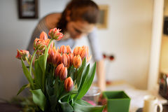 Professional florist girl collecting flowers Royalty Free Stock Image