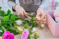 Professional florist hands working and cutting flowers on table - close up view
