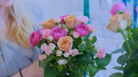 Professional florist making beautiful bouquet at flower store royalty free stock photography