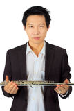 Professional flute player on white Stock Photo