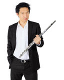 Professional flute player on white Stock Images