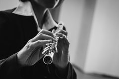 Professional flutist solo player Royalty Free Stock Image