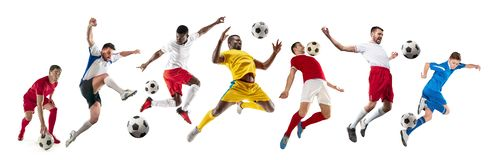 Professional men - football soccer players with ball isolated white studio background. Professional football soccer players with ball isolated on white studio stock images